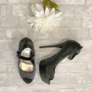 Shoe Dazzle Black Satin Heels NWOT